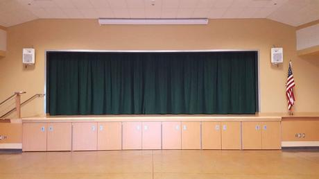 We have a new curtain on the stage! We are so excited to have a new curtain for  our stage!